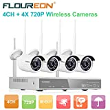 FLOUREON Wireless CCTV Security House Camera System 4CH NVR Kits 1080P + 4 Pack 720P 1.0MP HD Wireless IP Network WiFi Camera Night Vision Remote Access Motion Detection(4CH+ 4X 720P Camera)