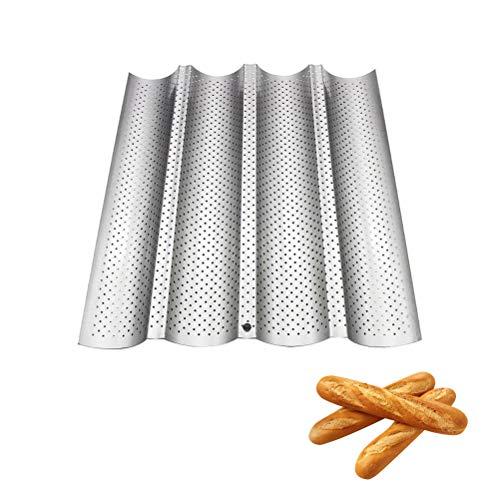 BSMEAN Baguette-Backblech mit Antihaftbeschichtung Baguette-Backblech Backform Toastbrotform Backform Brotbackform Silber 4 Baguettes