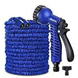 Red Earth 100FT / 150FT / 200FT Magic Stretch Flexible Expandable 3 x Expanding Garden Hose Pipe Natural Triple Layer Light Weight Non Kink with 7 Setting Professional Water Spray Nozzle (150FT)