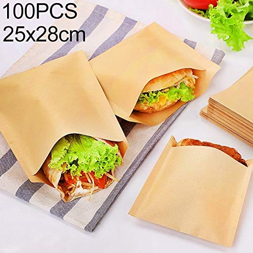 Great Price! YBLSMSH 100 PCS Disposable Oil-Proof Kraft Paper Bag Food Grade Oil-Proof Moisture-Proof Bag, Size: 25x28cm Q