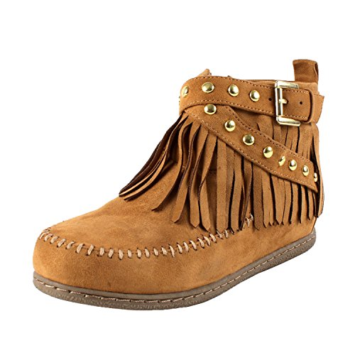SODA Women's Dahlia Faux Suede Moccasin Fringe Wedge Ankle Booties,Blond,6.5