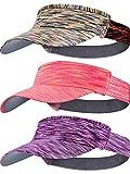 3 Pieces Sun Visor Caps for Women Men Adjustable Sports Visor Hats for Golf Tennis Cycling Running Jogging (Purple, Orange, Yellow)