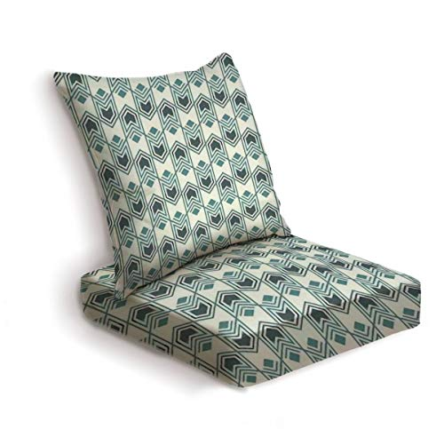 2-Piece Outdoor Deep Seat Cushion Set Seamless pattern with arrow fletching Repeated chevrons wallpaper Back Seat Lounge Chair Conversation Cushion for Patio Furniture Replacement Seating Cushion