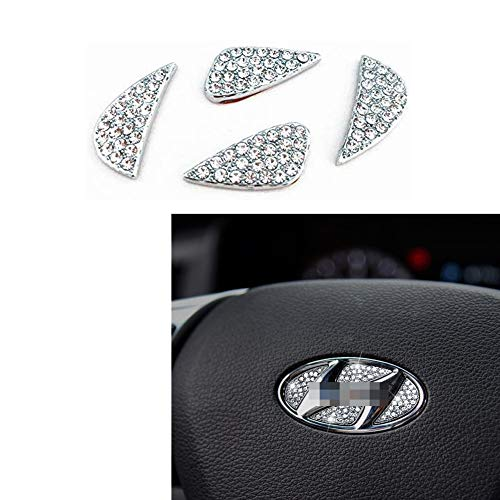 MAXMILO Car Interior Bling Accessories for Hyundai Accessories Sonata Elantra IX35 IX25 Tucson Verna MISTRA Accent Steering Wheel Sign Logo 3D Rhinestone Decals Cover