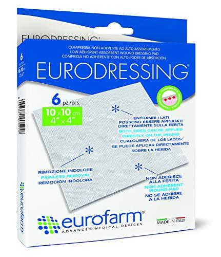 Eurodressing (cm 10 x cm 10) Compressa in TNT Non Aderente ad Alto Assorbimento, Entrambi i lati possono essere applicati direttamente sulla ferita. 6 Pezzi