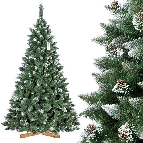 FairyTrees künstlicher Weihnachtsbaum Kiefer, Natur-Weiss beschneit, Material PVC, echte Tannenzapfen, inkl. Holzständer, 220cm, FT04-220