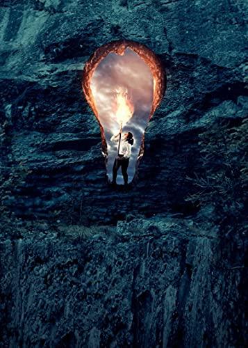 YOLANDACC Cave lampadina torcia poster decorazione parete soggiorno camera da letto 40 x 60 cm senza cornice
