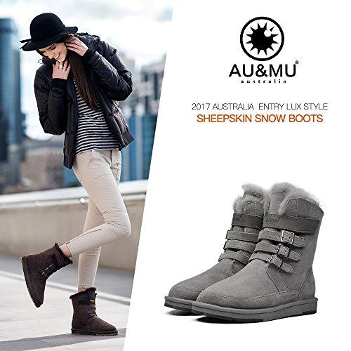 Aumu Women's Classic Lace Up Mid Calf Boots