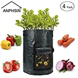 ANPHSIN 10 Gallon Garden Potato Grow Bags with Flap and Handles 4 Pack