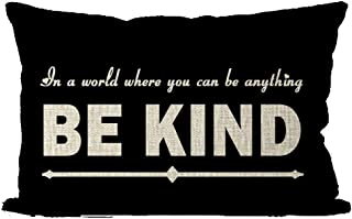 ITFRO in a World You Can Be Anything Be Kind Lumbar Waist Black Burlap Pillow Case Pillow Shams Cushion Cover Office Classroom Bedroom Oblong Long 12x20 Inch