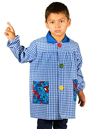 KLOTTZ SPIDERMAN - Babi guardería con bolsillos de tela de Spiderman. Bata colegio de manga larga...