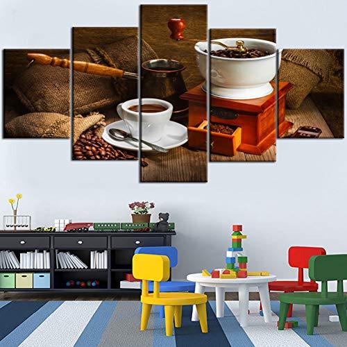 WOKCL Canvas Schilderij HD Gedrukt 5 Stuks Schilderij Oud-Fashioned Handmatige Koffiemachine En Koffiebonen Type Poster Voor Home Decor Woonkamer, Geen Frame