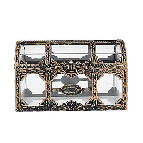Joyero retro retro rectangular vintage cofre del tesoro transparente caja de regalo para niñas mujeres