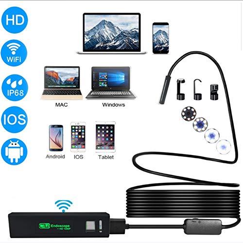 WFWPY WiFi Endoscopio, 1200 HD IP68 Cable Semirrígido De Serpiente Endoscopio Inalámbrico Resistente Al Agua 8 Boroscopio LED para teléfonos Inteligentes Android/PC (8 Mm)