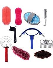 DEWIN Kit de Cuidado de Caballos - Kit de Cuidado de Limpieza de Caballos, Equestrain Brush Curry Comb, Juego de Herramientas de Limpieza de Caballos, 10 Piezas