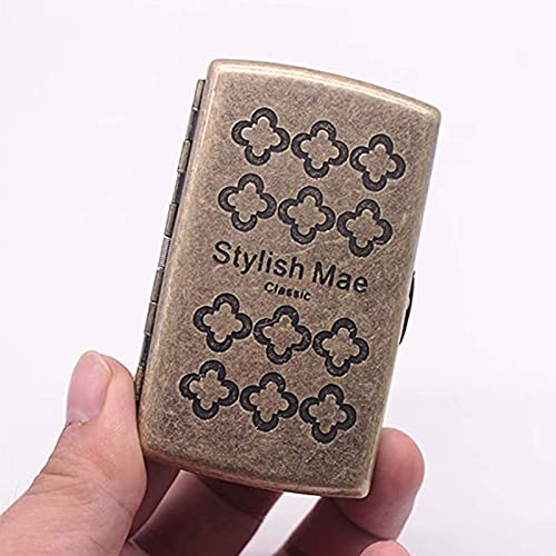 ZQS Funda de Cigarrillo de Metal Retro Cobre Flip Ultrafino portátil 12-Paquete Cigarrillos Caballeros Accesorios Esenciales, 9x5x2cm (Color : C)