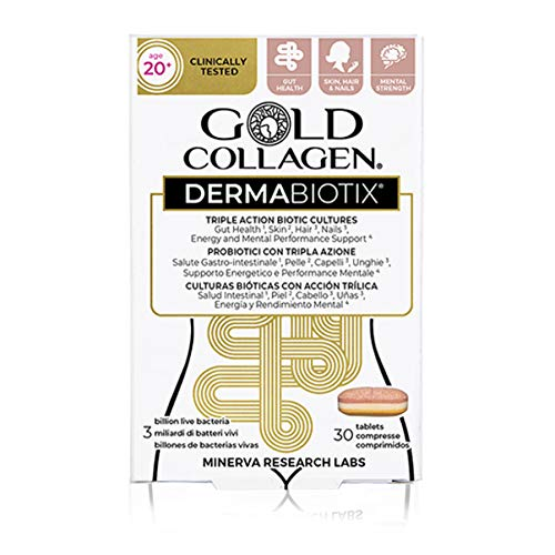 Gold Collagen Dermabiotix 20+ | The Original #1 Triple Action Biotic Culture | Probiotic-Based Tablet with Biotic Cultures and Essential Vitamins & Minerals for Gut Health | 30 Day