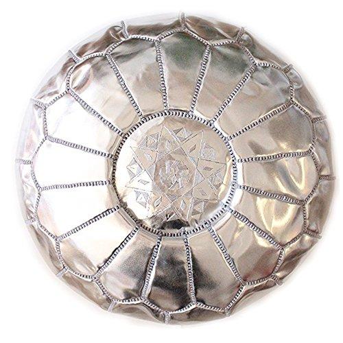Baba Souk Moroccan Silver Pouf - Faux Leather (Vegan)