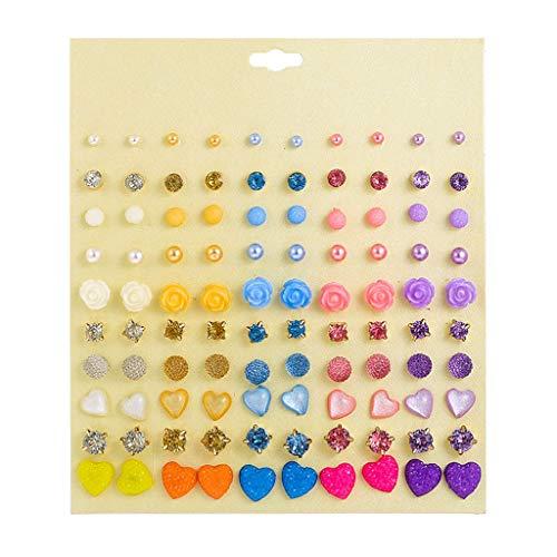 MYBOON 50 Pares de Pendientes de botón Cz de Color Caramelo, Pendiente de Resina de Cristal, joyería de Moda para niños, Pendientes de Moda, Colores Mezclados