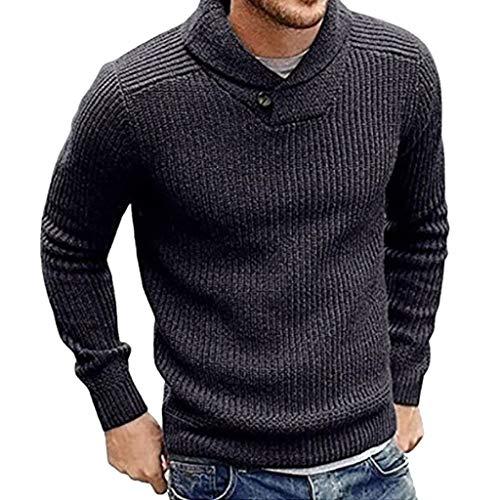 Heren sjaalkraag Slim Fit Gebreide trui truien met lange mouwen Casual truien - Herentrui herfst winter casual gebreide geribde jas onbezorgd Medium Grijs