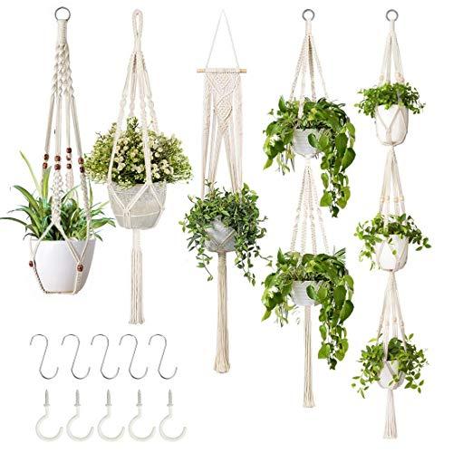 GROWNEER 5 Packs Macrame Plant Hangers with 5 Hooks - female bestie Christmas gift idea example