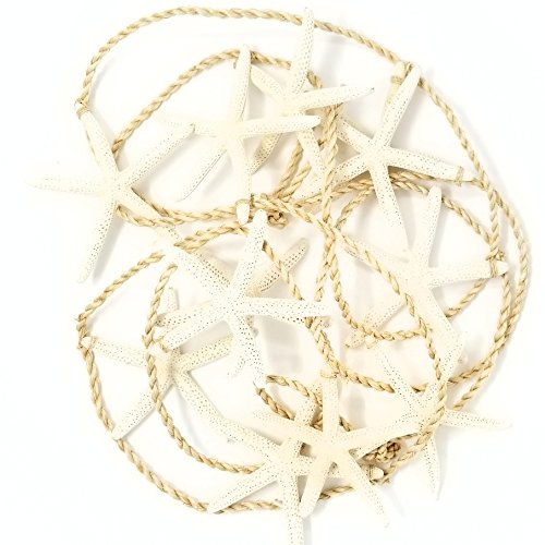 Tumbler Home - Tropical Starfish Garland - 12 Starfish from 4.5' to 6' Suspended from 10' Natural Jute - Beach/Wedding Décor - Perfect Christmas Garland