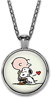 Charlie Brown and Snoopy - Book Art Charm Necklace - Puppy Love