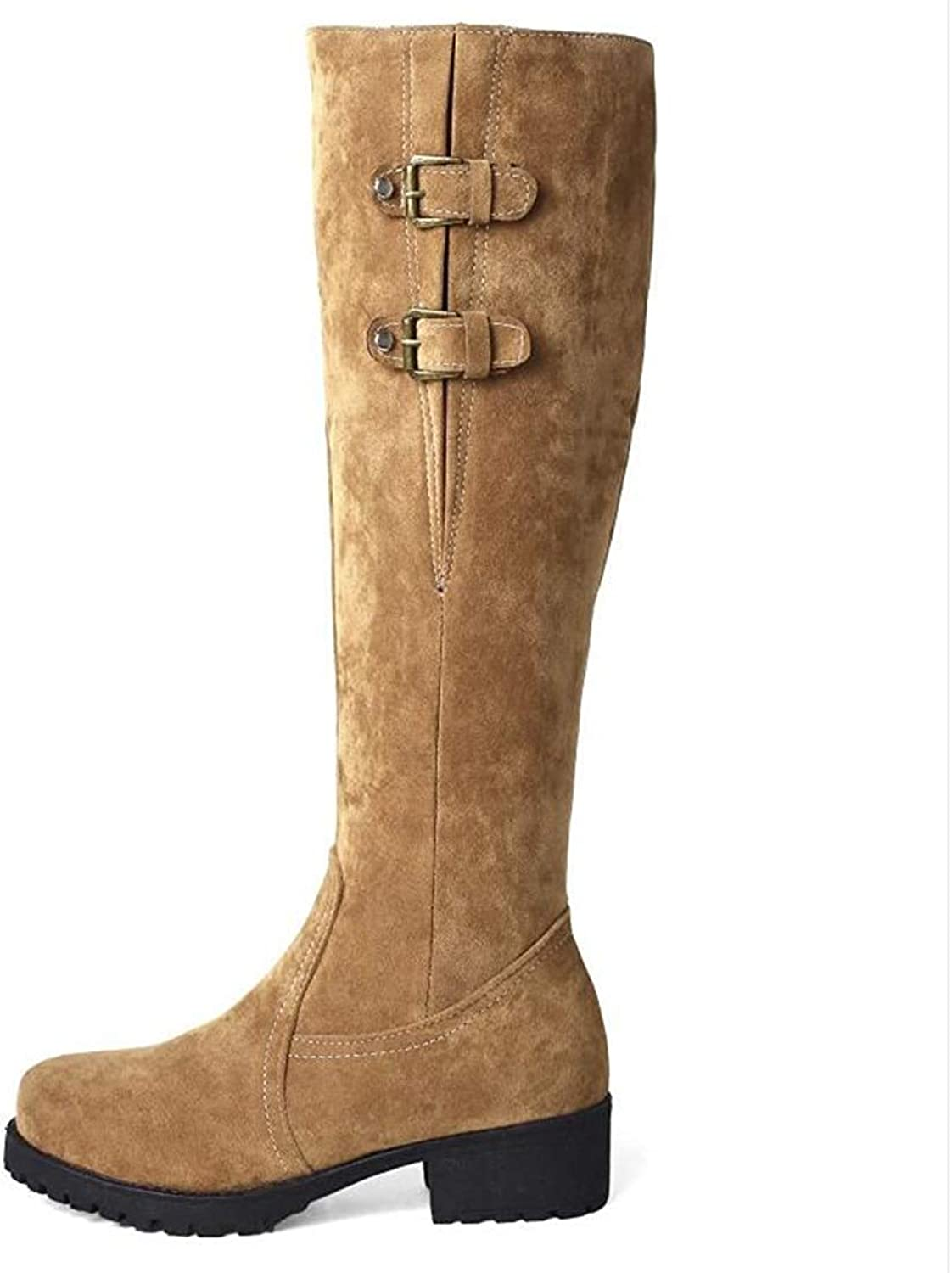 Webb Perkin Women Low Heel Round Toe Female Martin shoes Thick Plush Zipper Riding Boot Lady Knee High Boots