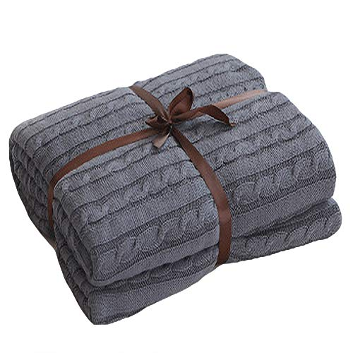Hava Kolari Kuscheldecke Gestrickte Überwurfdecke,Strickdecke Platzdecke Wohndecke Tagesdecke Überwurf Decke für Bett und Sofa, Couch, Bank (Rauchgrau,180x200cm)