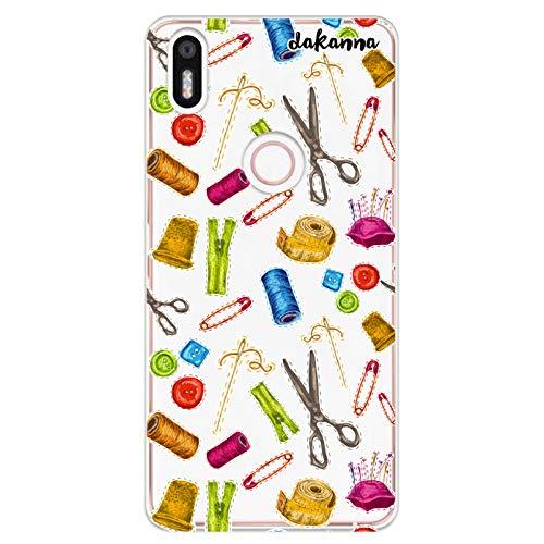 dakanna Funda para [ Bq Aquaris X5 Plus ] de Silicona Flexible, Dibujo Diseño [ Patrón Utensilios Costura y confección ], Color [Fondo Transparente] Carcasa Case Cover de Gel TPU para Smartphone