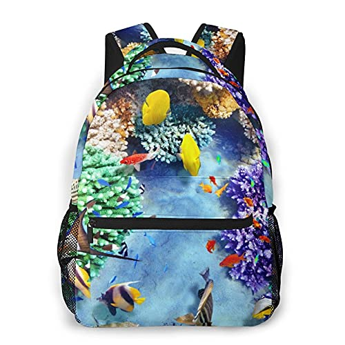 Laptop Mochila Wonderful And Beautiful Underwater World With Corals And Tropical Fish Daily Mochilas College School BookPantalón Lightweight Student Pantalóns Travel Casual Daypack Computer Pa