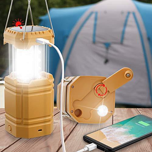 Farol de Camping Solar Recargable con Manivela, Linterna LED con 3 Vías de Energía, Banco de Energía de Emergencia de 3000mAh, Lámpara de Luz Impermeable para Senderismo, Kit de Supervivencia