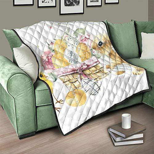 AXGM Colcha de pascua con conejito de Pascua, pollito y huevos, manta 3D, digital, dormitorio blanco, 180 x 200 cm