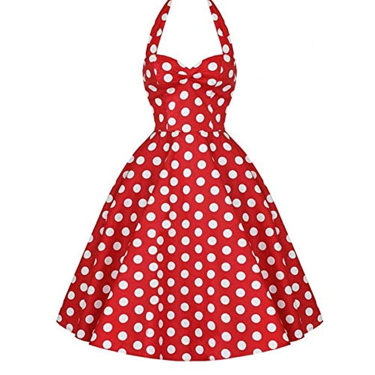 寄稿者願望スプレーヴィンテージドットパターンノースリーブレディードレス中層イブニングドレススリムカット大きな裾プリンセスドレスホルターネックバブルドレス-赤M