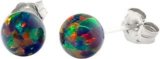 Trustmark 925 Sterling Silver Black Synthetic Opal Ball Stud Post Earrings