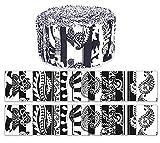 Soimoi 40Pcs Block & Paisley Impresión De Algodón Telas De Precorte De Algodón Para Quilting Strips De Artesanía De 2.5 Pulgadas Rollo De Jalea - Blanco Y Negro