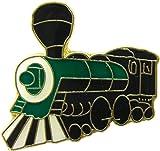 Steam Train Engine - Green, Black & White Locomotive - Enamel Pin