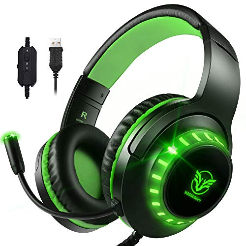 Pacrate 7.1 Stereo USB Gaming Headset mit Noise Cancelling Mikrofon für PC Laptop Mac Surround Sound Kopfhörer mit LED Beleuchtung und Weichen Ohrenschützern (schwarz grün)