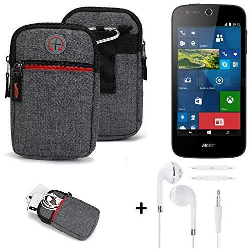 K-S-Trade® Gürtel-Tasche + Kopfhörer Für -ACER Liquid M330- Handy-Tasche Schutz-hülle Grau Zusatzfächer 1x