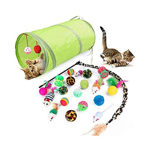 QUUY Juguete para Gatos, Juego de 21 Piezas con túnel Plegable para Gatos, Juguete Interactivo para muelles, Bolas, etc.