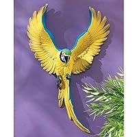 羽ばたく レモンイエローのコンゴウインコ鳥 壁彫刻 彫像 バードカフェ トロピカル レストラン 新築祝い 記念プレゼント 贈り物()