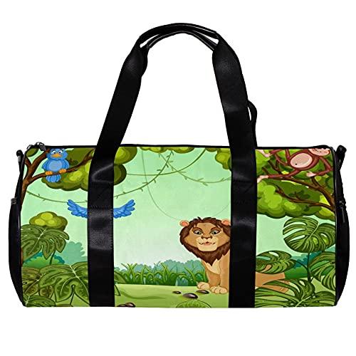 Borsone per le donne uomini verde foresta leone scimmia uccelli sport palestra tote bag weekend viaggio borsa borsa bagagli all'aperto