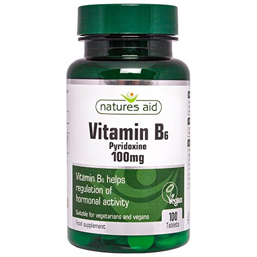 Natures Aid Vitamin B6 100 mg, Pyridoxine, Suitable for Vegans, 100 Tablets