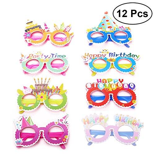 Toyvian Alles Gute zum Geburtstag Papier Party Brille Neuheit Brillen,Kids Party Favors Lieferungen 12 pcs