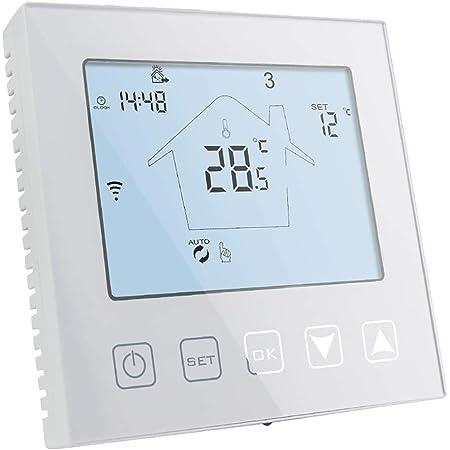 MoesGo Thermostat intelligent et programmable avec fonction WiFi pour contr/ôle de syst/èmes de chauffage au sol /électrique compatible avec les syst/èmes Alexa et Google Home