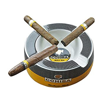 Cigar Outdoor Ashtrays for Patio Big Ashtrays for 8  Round Cigarettes Large Rest Cigars Ashtray for Patio/Outside/Indoor Ashtray