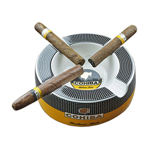 GUEVARA Cigar Ashtray Big Ashtrays for 8' Round Cigarettes Large Rest Outdoor Cigars Ashtray for Patio/Outside/Indoor Ashtray