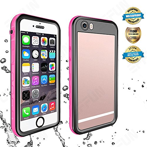 EFFUN iPhone 6/6s Waterproof Case, IP68 Certified Waterproof Underwater Cover Dirtproof Snowproof Shockproof Case with Cell Phone Holder, PH Test Paper, Stylus Pen, Floating Strap Pink