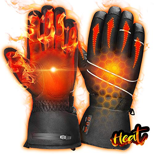 winna Heated Gloves for Men Women, Rechargeable Battery Electric Gloves, Touchscreen Heating Gloves for Skiing, Motorcycle, Hunting, Riding, Snowmobile