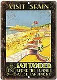 Cartel de estaño para decoración de pared, diseño de España Santander de viaje, metal, para cocina, garaje, comedor, 20 x 30 cm